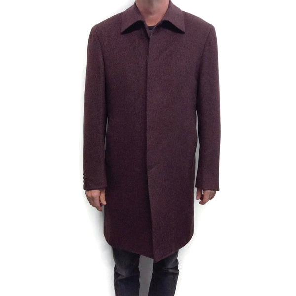 Brioni Cashmere Car Coat Burgundy with Gray Fleck
