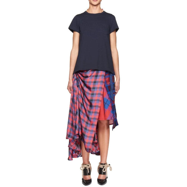 sacai Red / Navy Plaid Pleated Skirt