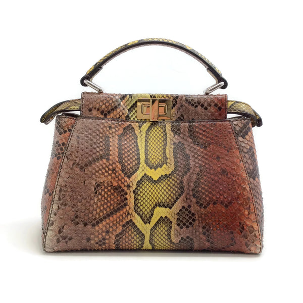 Fendi Mini Peekaboo Multicolor Python Skin Leather Satchel