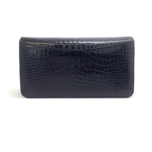 Manolo Blahnik Navy Blue Alligator Skin Leather Clutch
