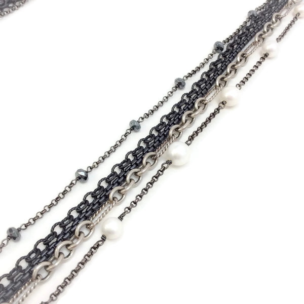 David Yurman Sterling Silver / Darkened Sterling Multi Strand Necklace