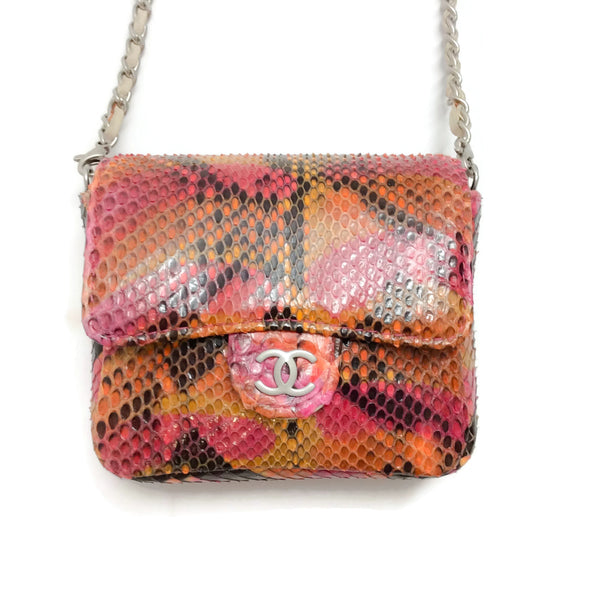 Chanel Micro Mini Flap Pink Multi Python Skin Leather Cross Body Bag