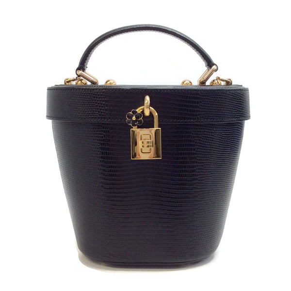 Dolce&Gabbana Hard Shell Bucket Black Lizard Skin Leather Bag