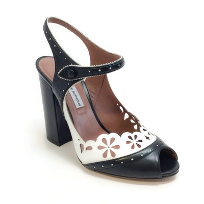 Tabitha Simmons Black / White Kitty Sandals