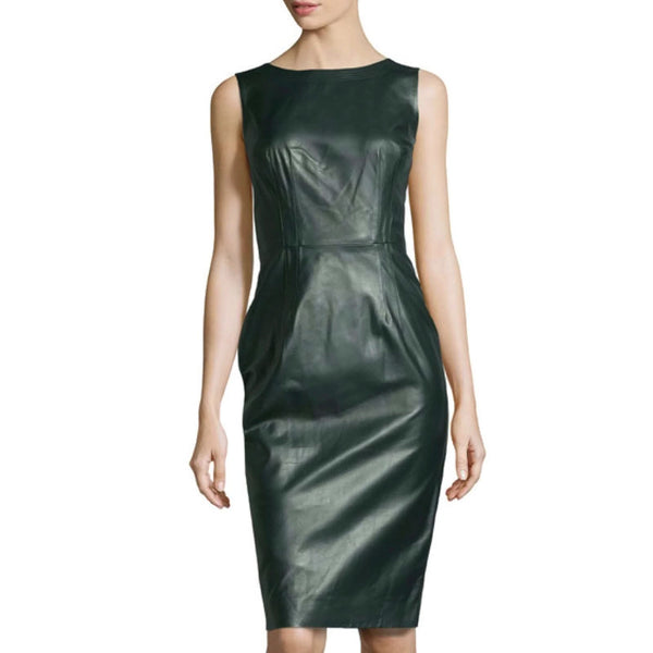 Oscar de la Renta Green Jewel Neck Dress
