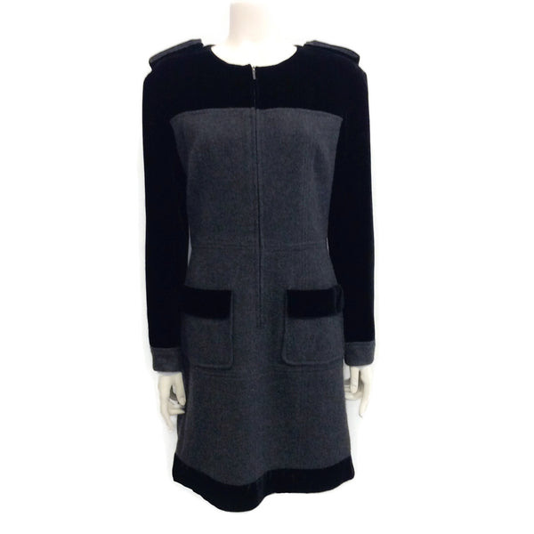 Chanel Charcoal / Black Cashmere and Velvet Epaulettes Dress