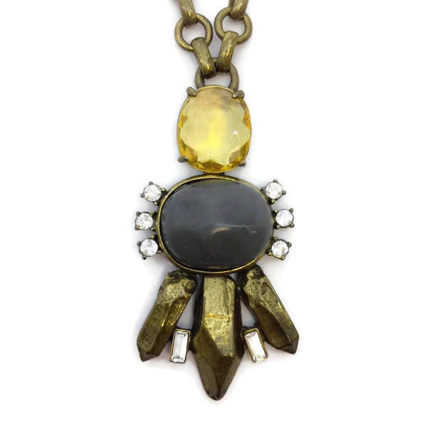 Gerard Yosca Grey / Yellow Brass Stone and Crystal Necklace
