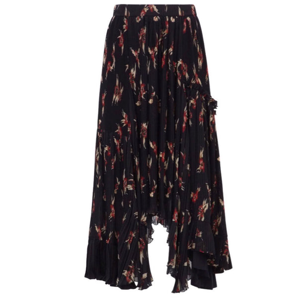 Isabel Marant Black / Red Floral Wilny Pleated Skirt