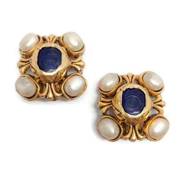 Chanel Gold / Navy / Pearl Vintage 1980's Nacre Gripoix Earrings