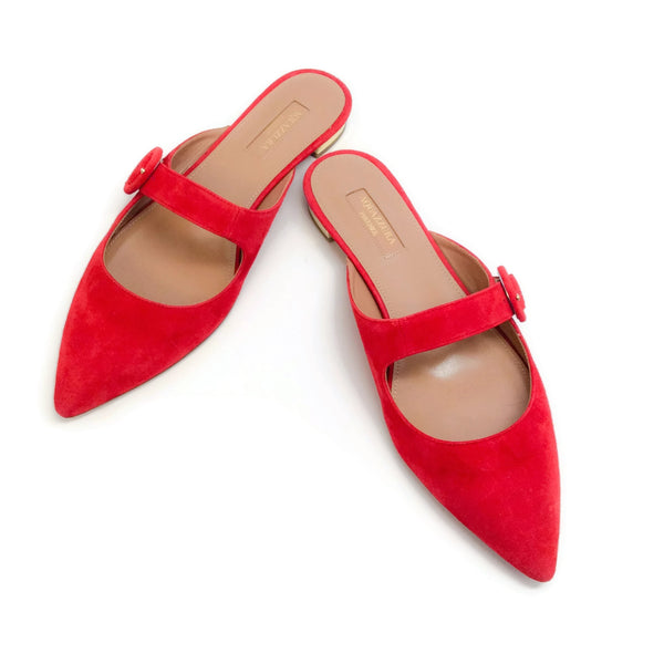 Aquazzura Carnation Red Blossom Flat Mules