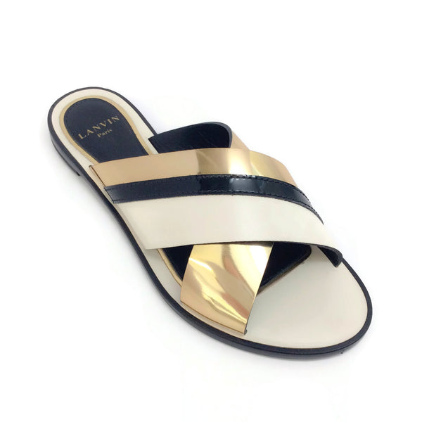 Lanvin Gold / Ivory Mirror Criss Cross Flat Slide Sandals