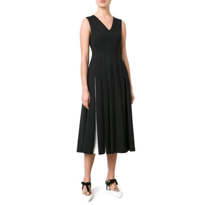 Vionnet Black / White Pleated Skirt Dress