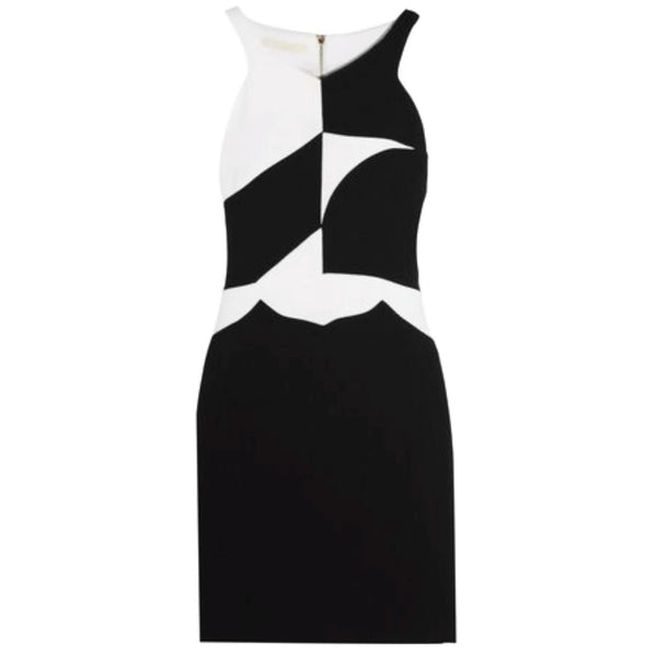 Antonio Berardi Black / White Two-tone Wool Crepe Dress