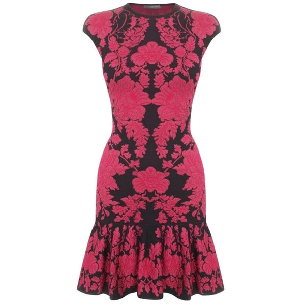 Alexander McQueen Black / Pink Floral Flower Blossom Dress