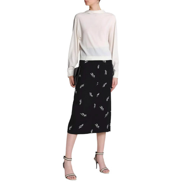 Marni Black / White Printed Crepe Skirt