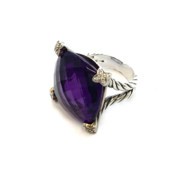 David Yurman Sterling Silver / Amethyst Gemstone with Diamonds Ring