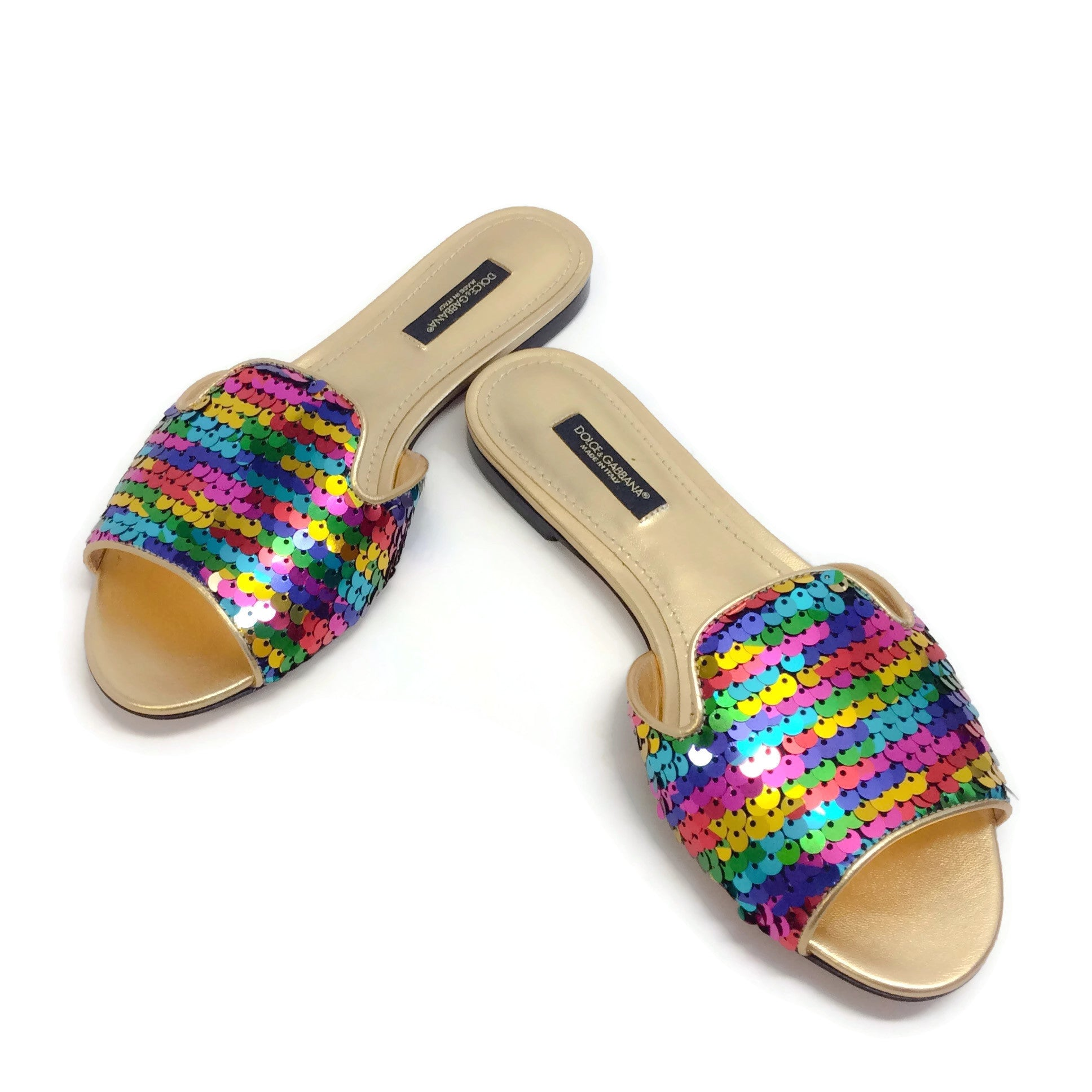 Dolce&Gabbana Rainbow Sequin Slide Sandals