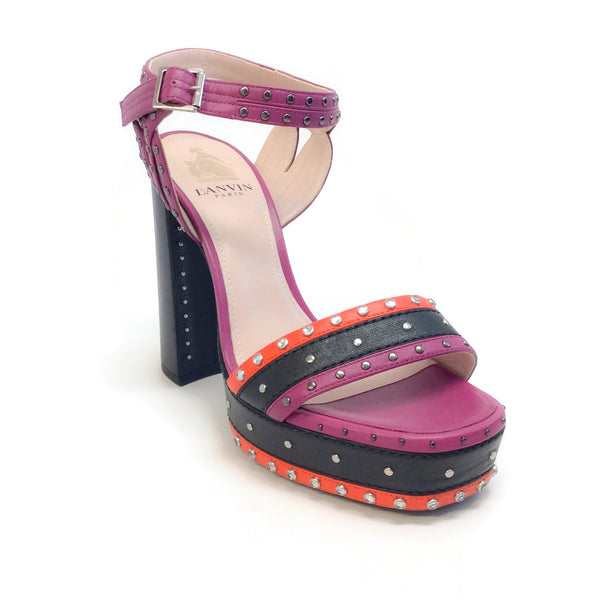 Lanvin Purple / Black / Red Studded Platform Sandals