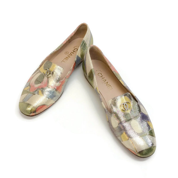 Chanel Multi Floral Iridescent Shimmer Smoking Slipper