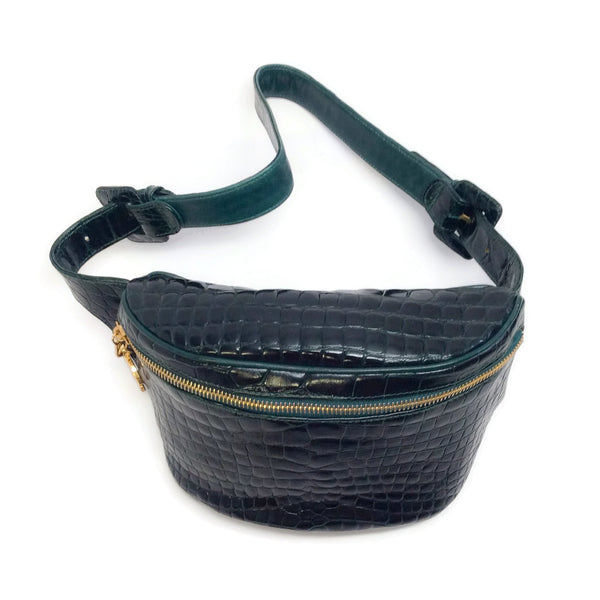 Chanel Dark Green Vintage Alligator Belt Bag
