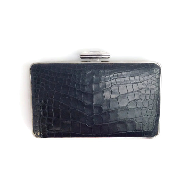 Judith Leiber Black Alligator Skin Leather Box Clutch