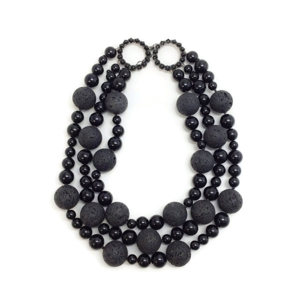 Siman Tu Black Onyx and Lava Three Strand Necklace