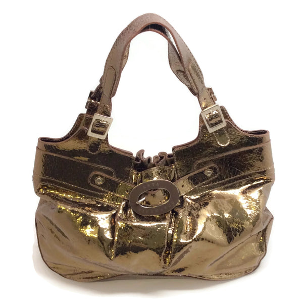 Anya Hindmarch Buckle Front Crackle Metallic Bronze Leather Shoulder Bag