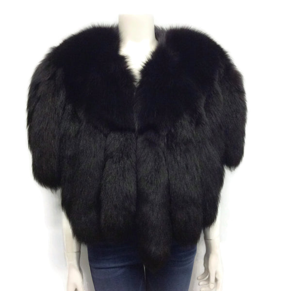 Black Fox Tail Fringe Cape
