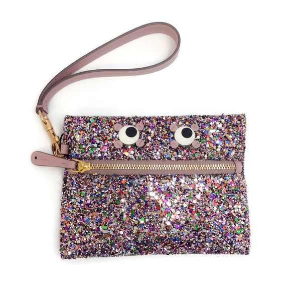 Anya Hindmarch Pink Glitter Circulus Eyes Leather Small Zip Pouch Wallet