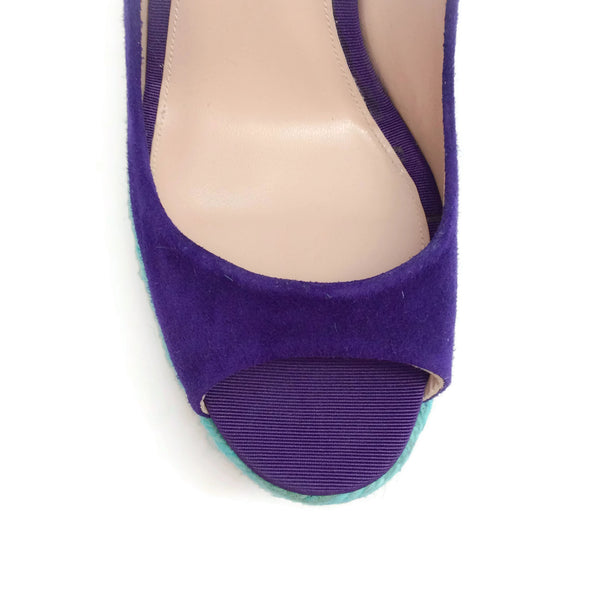 Brian Atwood Cobalt / Turquoise Espadrille Platform Wedges