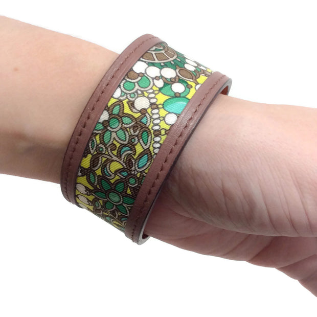 Hermès Green / Brown Petit H Silk Leather Bracelet