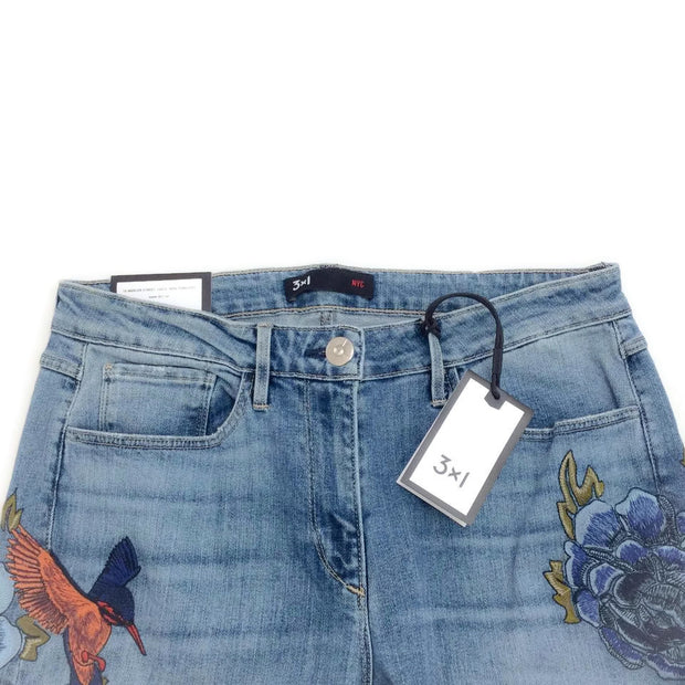 3X1 Blue Light Wash W25 Embroidered Flare Leg Jeans