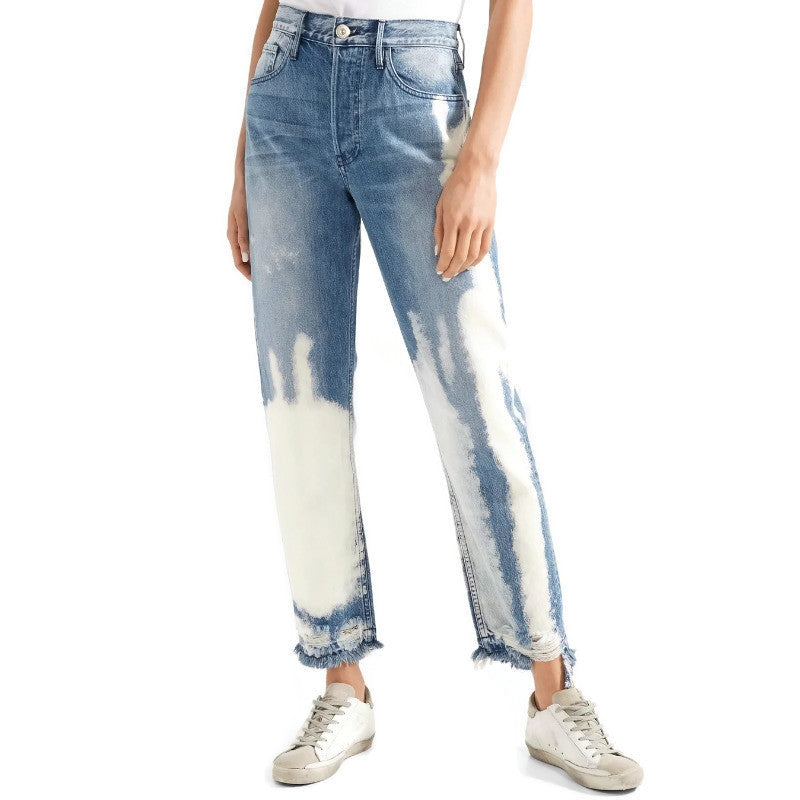 3X1 Marine Blue Light Wash Higher Ground Marbled Straight Leg Jeans