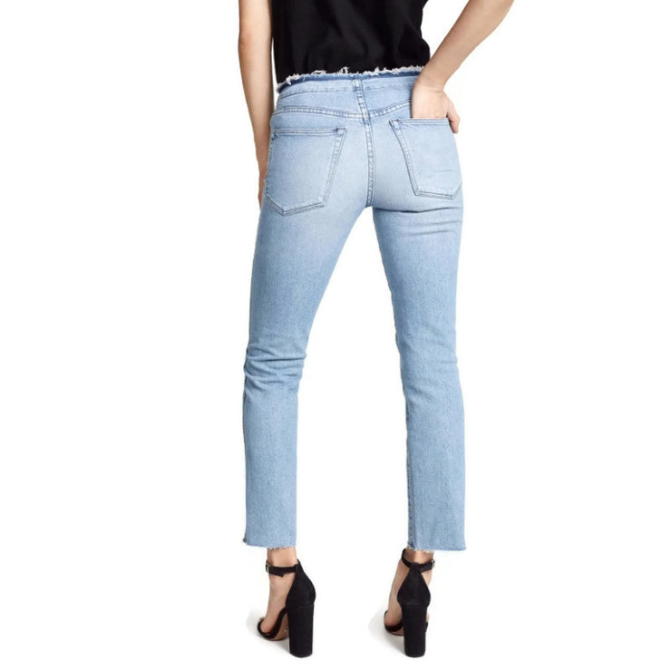 3X1 Light Blue Wash Raw Edge Jesse Capri/Cropped Jeans