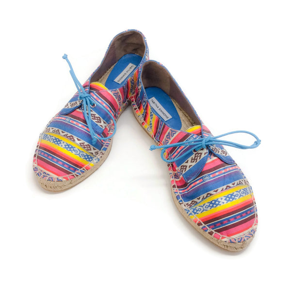 1b02711e522a Tabitha Simmons Multicolor Aztec Lace Up Espadrille Flats