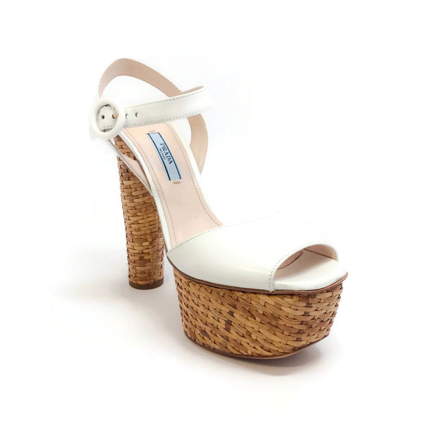04f47558358 Prada White Basket Weave Platform Sandals – Roundabout Resale Couture