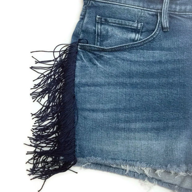 3X1 Dark Blue Mason Spanish Fringe Shorts