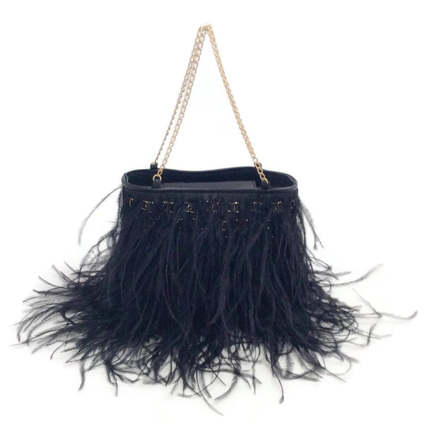 Chanel Black Feather Evening Bag