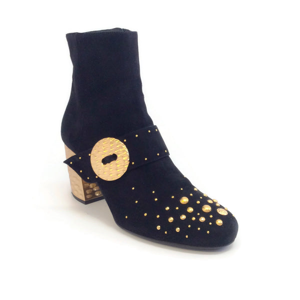 Prada Black / Gold Suede with Studs Boots