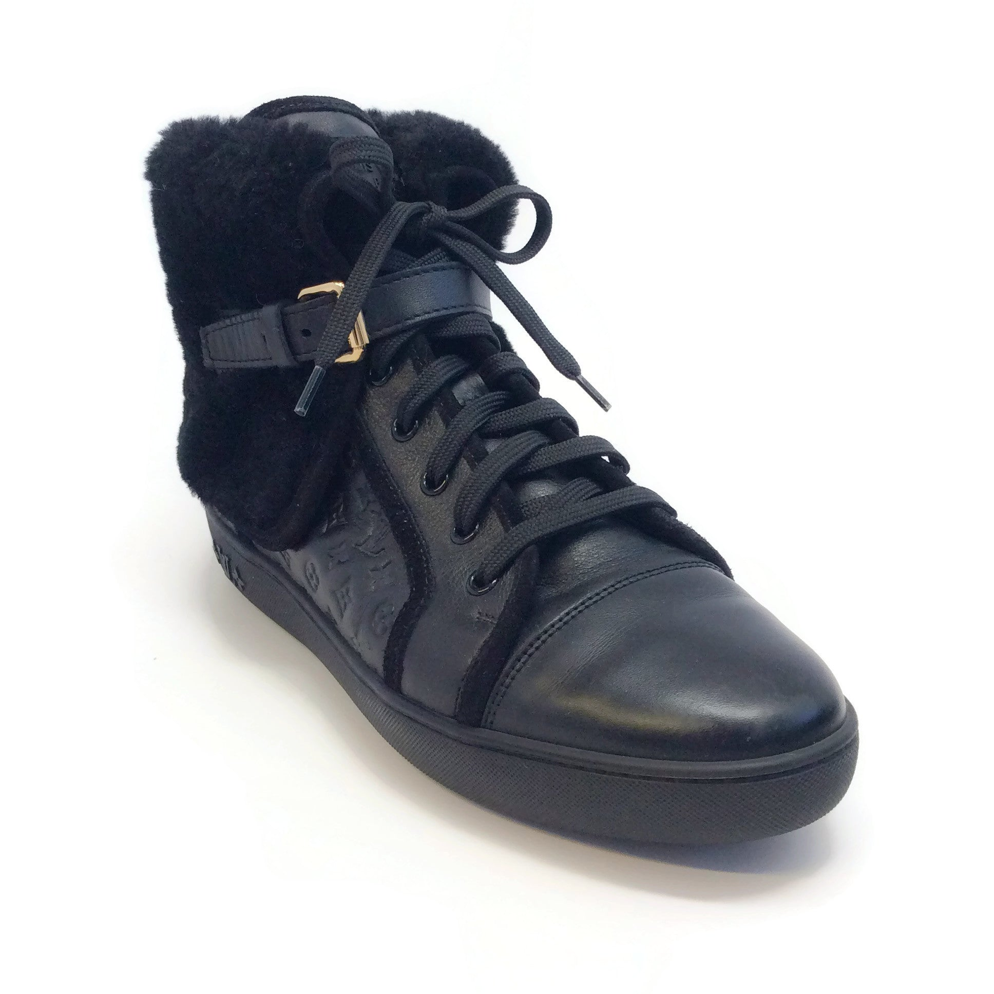 Louis Vuitton Black Monogram Empreinte Leather and Shearling High Top Sneakers