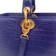 Dior Lady Dior Purple Crocodile Skin Leather Satchel