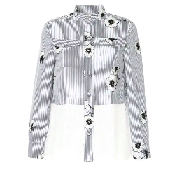 Huishan Zhang Blue / White Floral Button-down Top