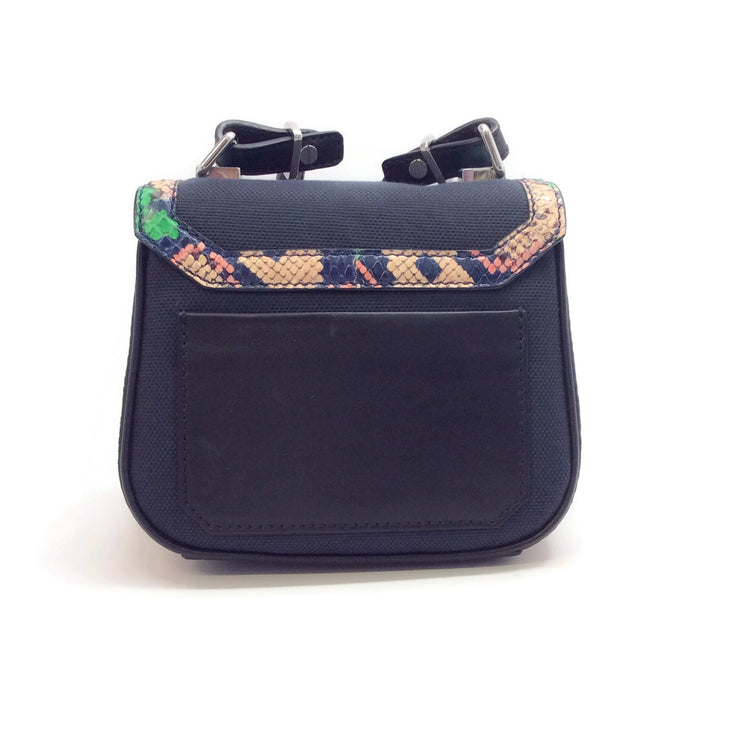 Proenza Schouler Snakeskin Trimmed Navy Snake / Canvas Cross Body Bag