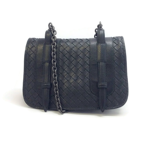 Bottega Veneta Intrecciato with Chain Handle Black Leather Cross Body Bag