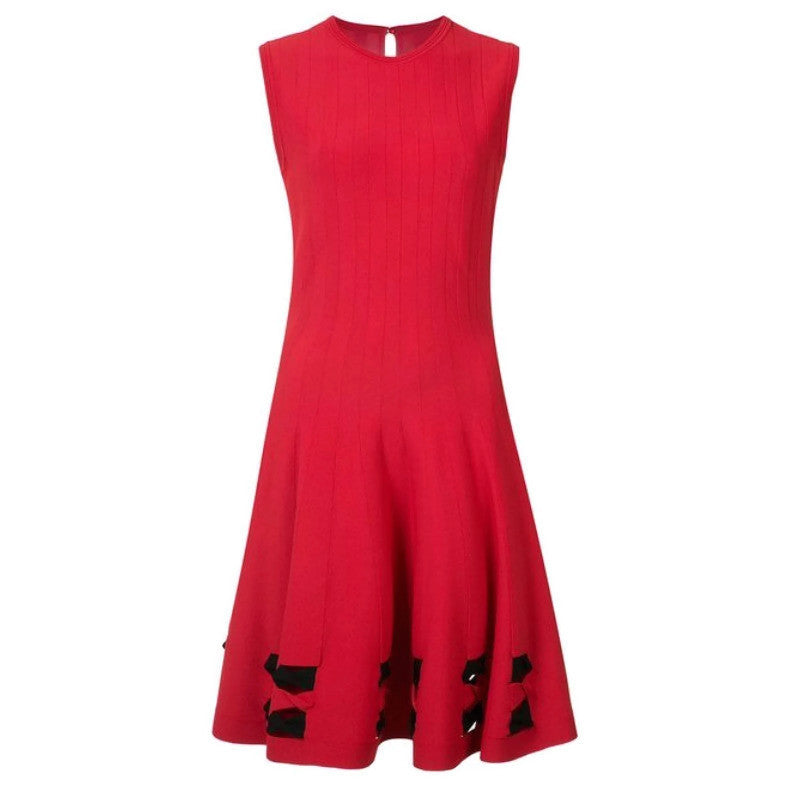 Alexander McQueen Red Bow Detail Cocktail Dress