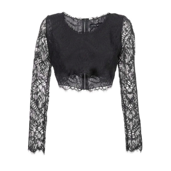 Baja East Lace Cropped Black Top