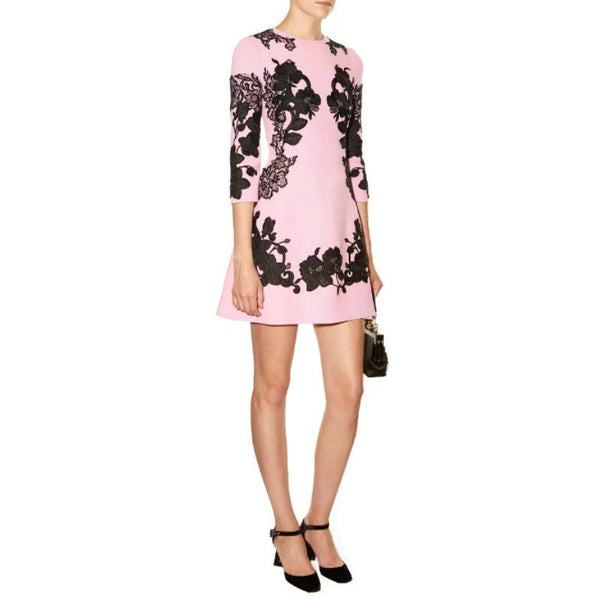 Dolce&Gabbana Pink / Black Floral Lace Cocktail Dress