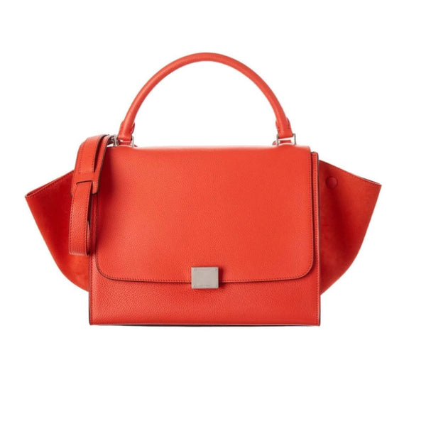 Céline Trapeze Medium Coral Leather / Suede Satchel