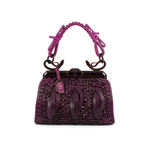 Dior Limited Edition Samurai 1947 Fuchsia Leather / Resin Satchel
