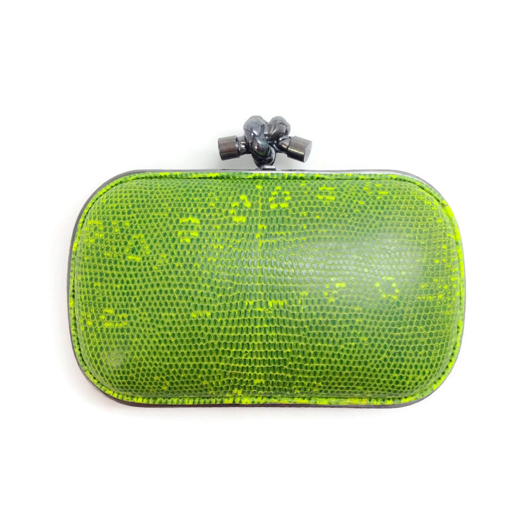 Bottega Veneta Green Lizard Skin Leather Clutch